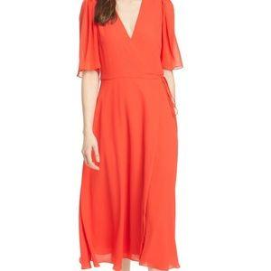 Alice + Olivia Suri Flutter-Sleeve Midi Dress sz 8